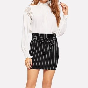 NEW Express High Waisted Striped Midi Skirt
